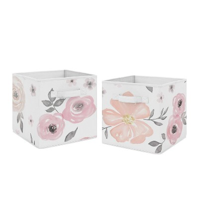 Watercolor Floral Fabric Storage Bins Pink/Gray - Sweet Jojo Designs