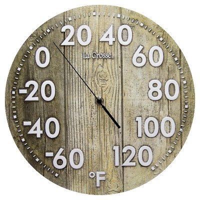 La Crosse 12  Wood Dial Thermometer - Brown
