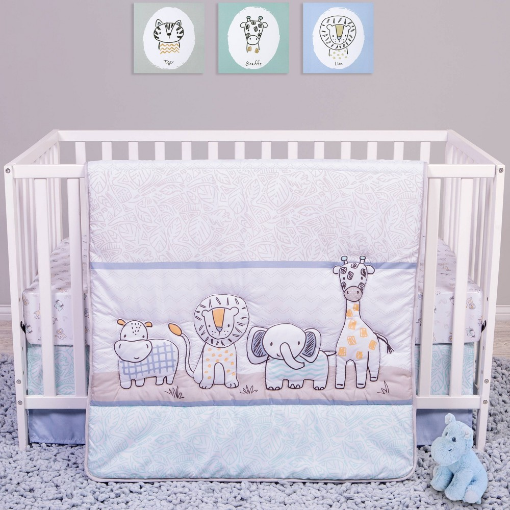Image of Sammy and Lou Safari Yearbook Crib Bedding Set - 4pc