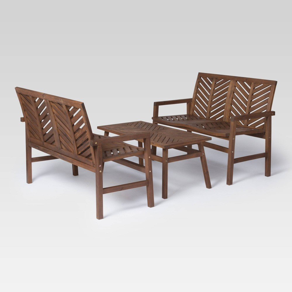 Image of 3pc Chevron Outdoor Patio Loveseat Set Dark Brown - Saracina Home