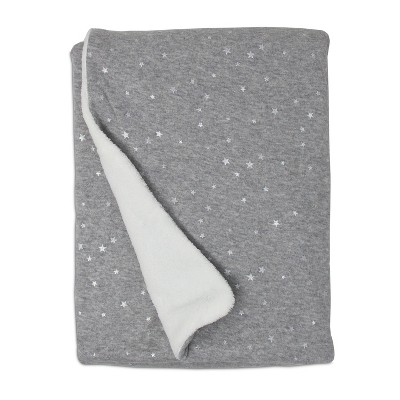 Living Textiles Baby Jersey Blanket w/ Sherpa - Gray Metallic Stars
