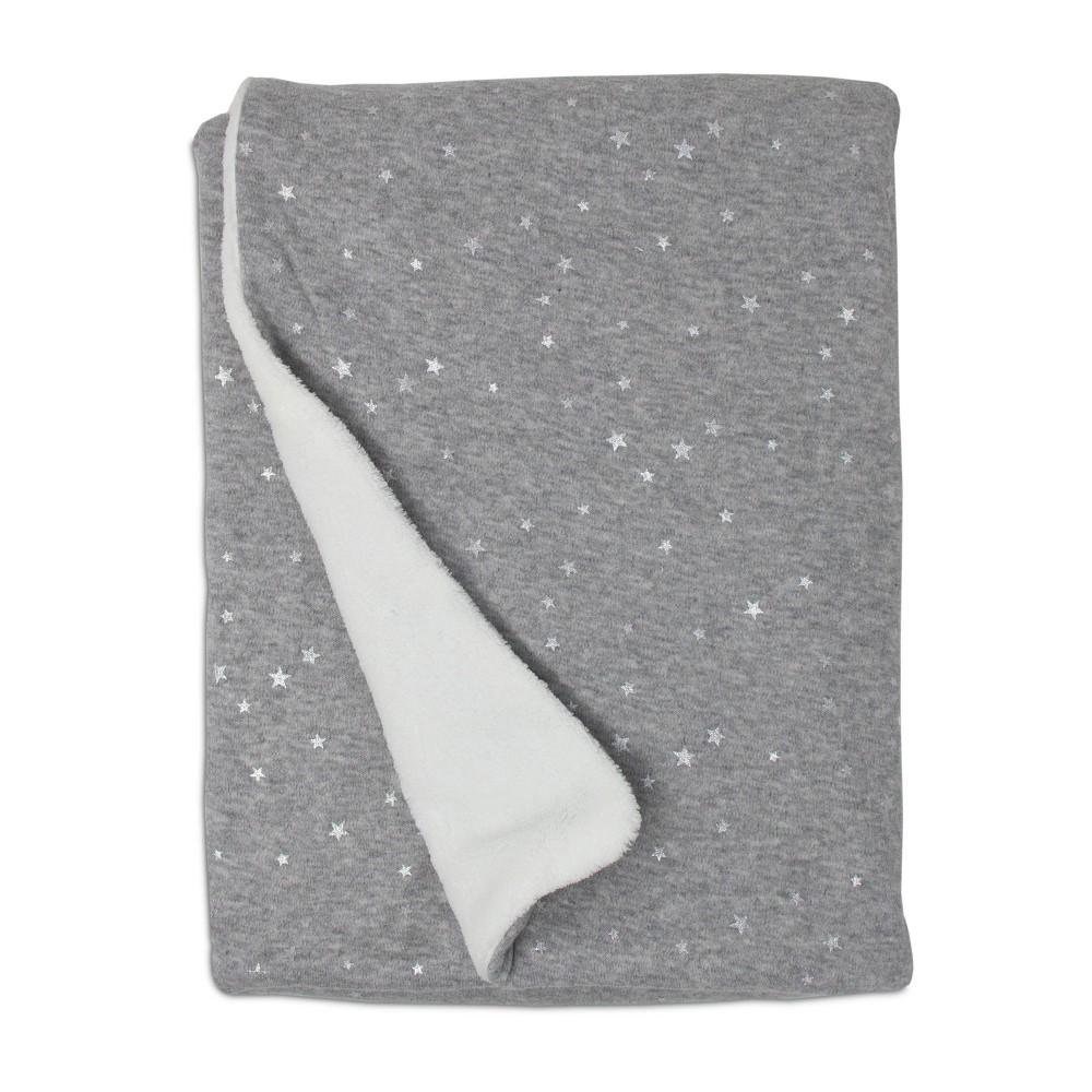 Image of Living Textiles Baby Jersey Blanket w/ Sherpa - Gray Metallic Stars