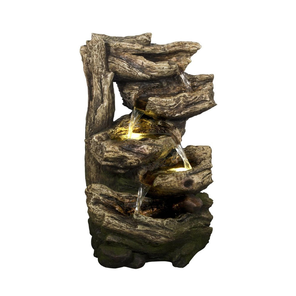 20 34 Tiered Multi Level Branches Waterfall Fountain With 2 Led Lights Brown Hi Line Gift