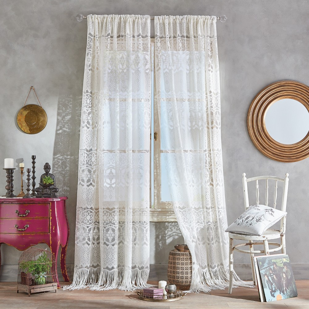 "Image of ""108"""" BOHO Lace Poletop Curtain Panel Ivory"""