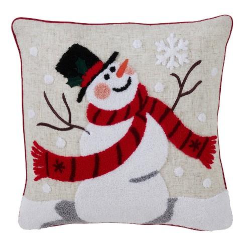 Jolly Snowman Square Throw Pillow Tan Saro Lifestyle Target