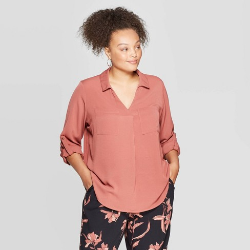 Women's Plus Size Long Sleeve Collared Utility Pocket Shirt - Ava & Viv™ - image 1 of 2