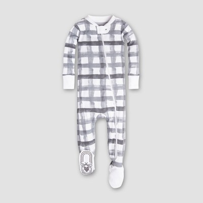 Burt's Bees Baby Organic Cotton Buffalo Check Sleeper - Charcoal 3-6M