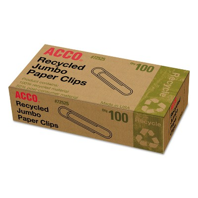 Acco Recycled Paper Clips Jumbo 100/Box 10 Boxes/Pack 72525