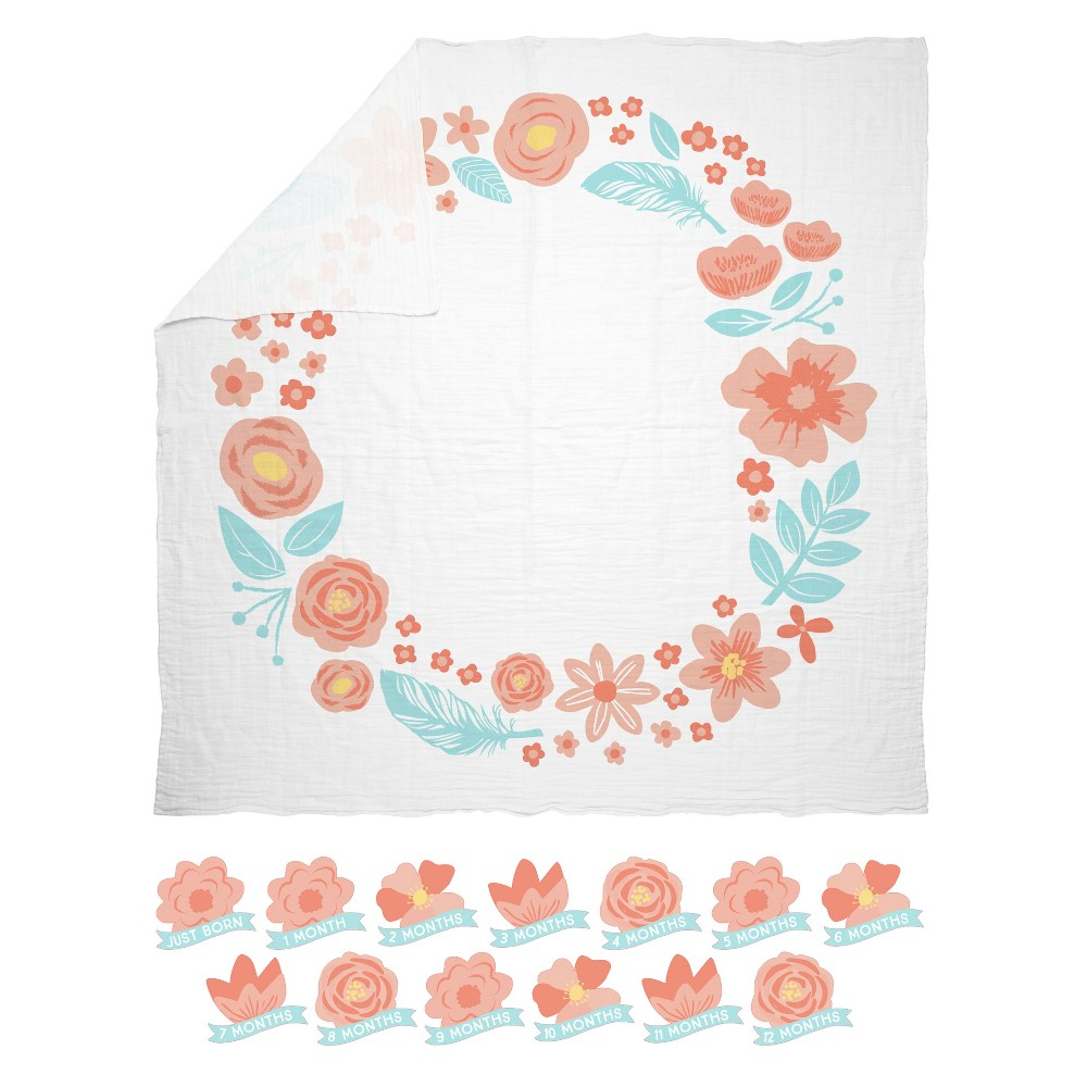 Pearhead Watch Me Grow Photo And Baby Belly Sticker Set Floral Swaddle Blanket Pink