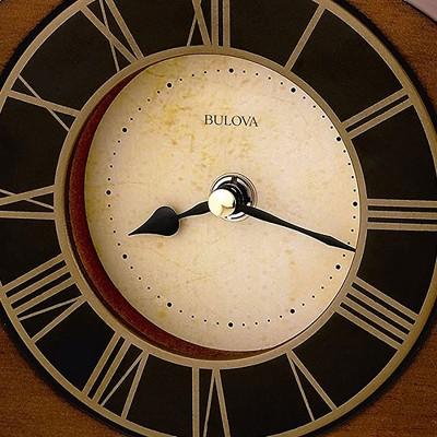Bulova Clocks B7340 Hardwood Case Antique Walnut Finish Roman Numeral Tremont Clock with Aluminum Bezel and Elegant Ivory Parchment Dial