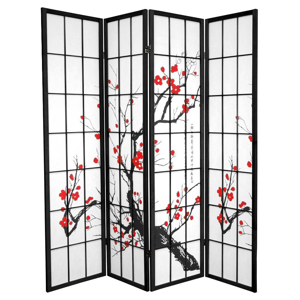 Oriental 6 ft. Tall Flower Blossom Divider - Black (4 Pan...