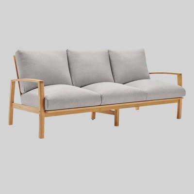 Orlean Outdoor Patio Eucalyptus Wood Sofa Natural Light Gray - Modway