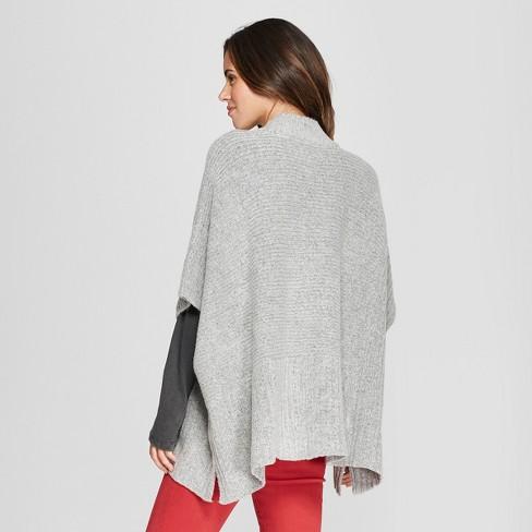 e2c49112182f7 Women s Rib Mix Poncho Sweater - Universal Thread™ Gray   Target