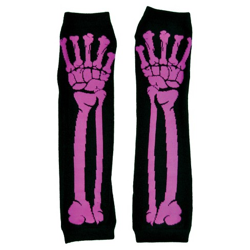 Glove Long Pink Bone Print - One Size Fits Most - image 1 of 1
