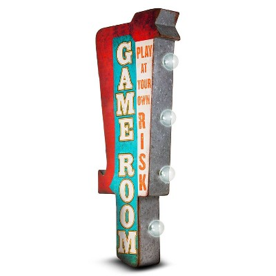 Game Room Vintage LED Marquee Sign Wall Decor Red/Teal - Crystal Art Gallery