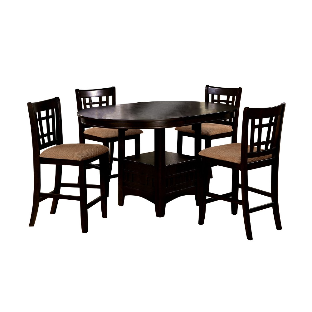 miBasics 5pc Open Bottom Square Shelf Round Counter Dining Table Set Wood/Espresso