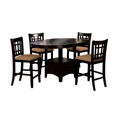 5pc Hoseahopen Bottom Square Shelf Round Counter Dining Table Setespresso Mibasics