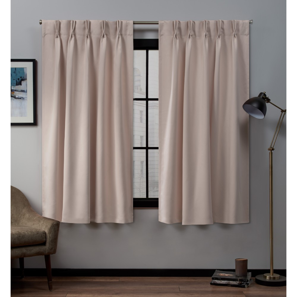"Image of ""30""""x108"""" Sateen Twill Woven Blackout Pinch Pleat Window Curtain Panel Pair Blush - Exclusive Home, Blush Pink"""