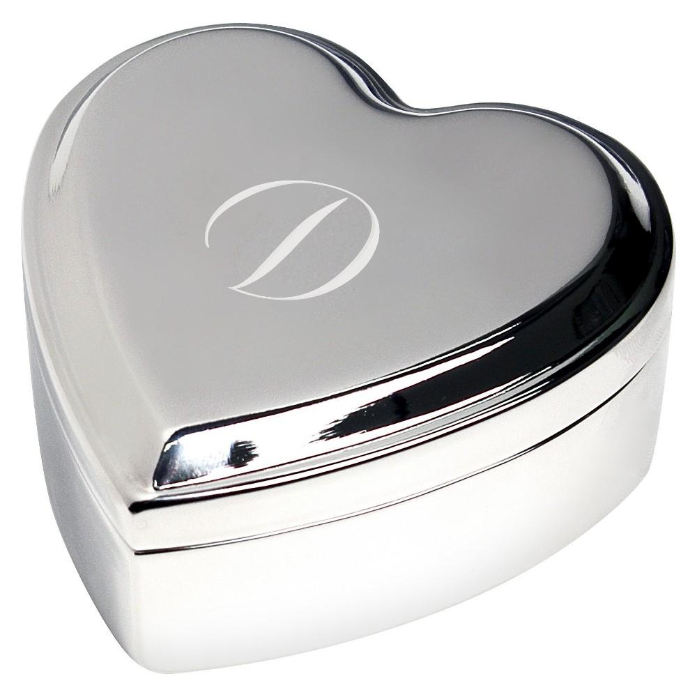 Monogram Heart Keepsake Jewelry Box - D, Silver