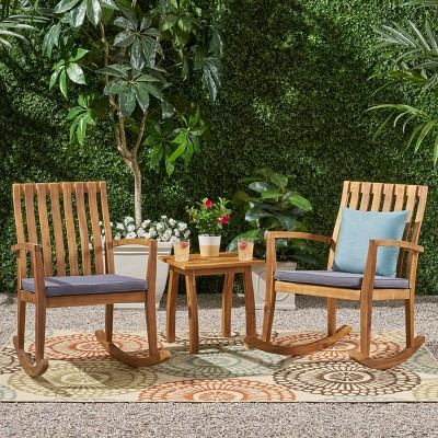 3pc Colmena Acacia Wood Rustic Rocking Chair Set with Side Table Teak - Christopher Knig