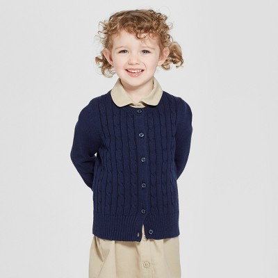 Toddler Girls' Crew Neck Cable Knit Uniform Cardigan - Cat & Jack™
