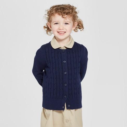 8817d851a Toddler Girls  Crew Neck Cable Knit Uniform Cardigan - Cat   Jack ...