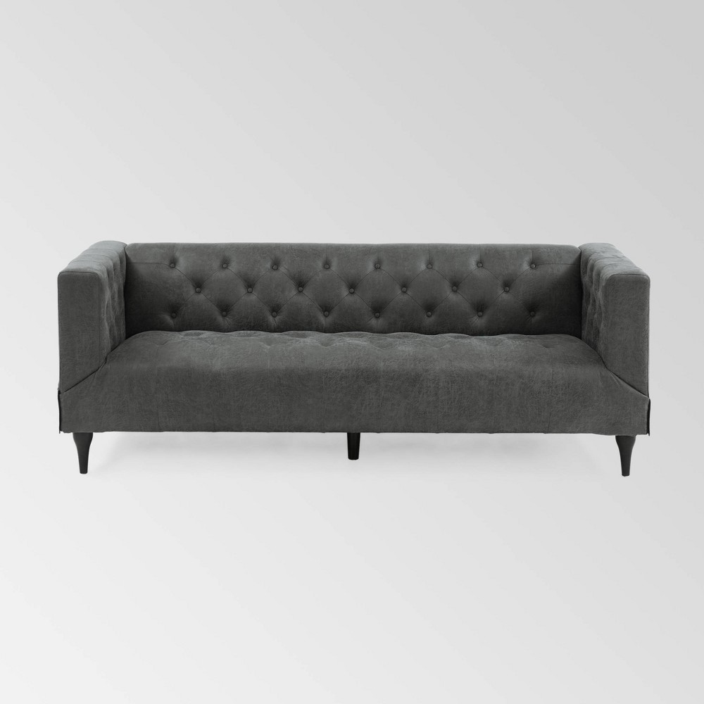 Image of Loomis Contemporary Microfiber Upholstered Tufted Sofa Gray - Christopher Knight Home