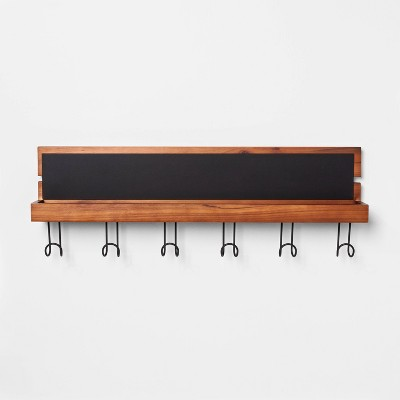 Entryway Wood Hook Rail With Shelf & Chalkboard Brown - Threshold™