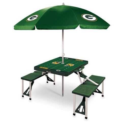 Nfl Green Bay Packers Picnic Table Sport With Umbrella By Picnic