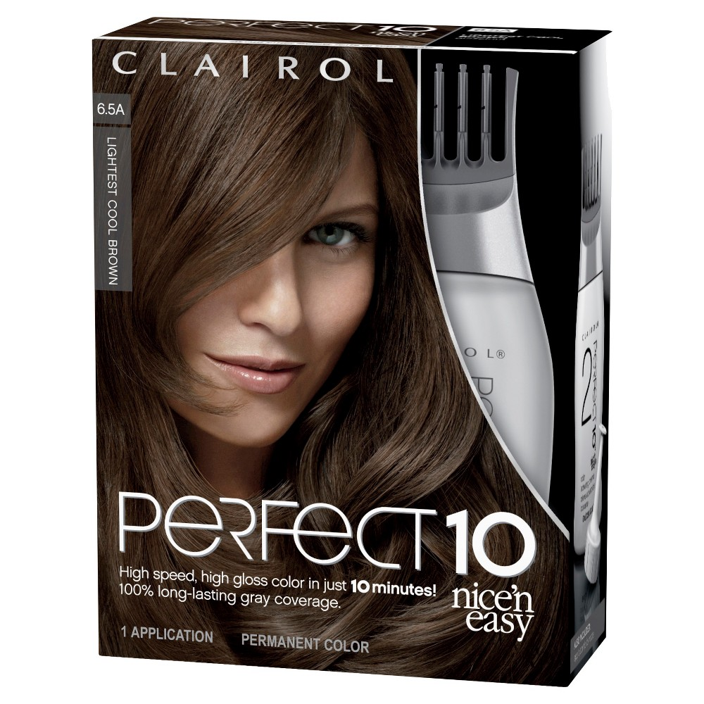 Nice 'n Easy Clairol Perfect 10 Hair Color - 6.5A Lightest Cool Brown - 1 kit
