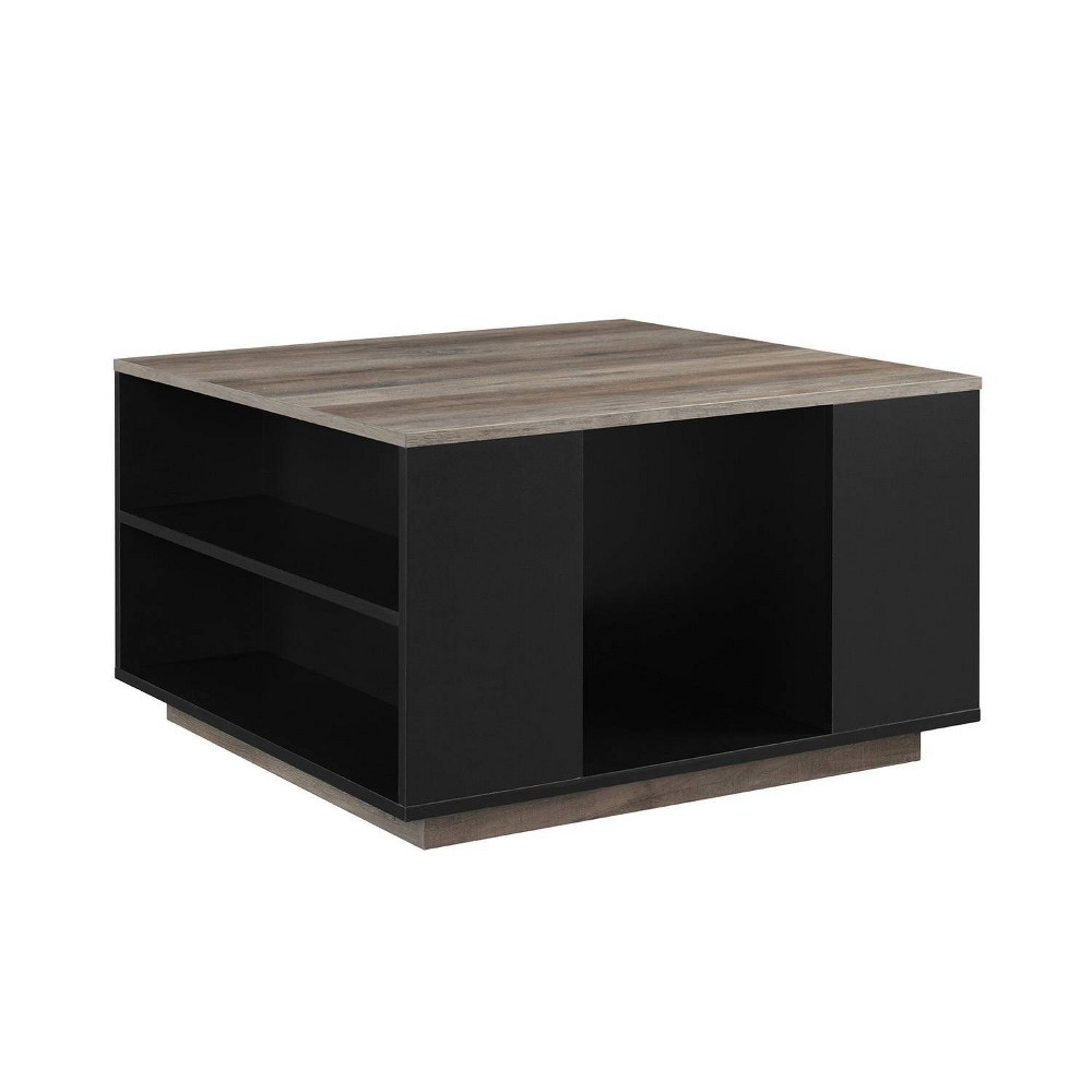 Hako Modern Square Storage Coffee Table Solid Black Gray Wash Saracina Home
