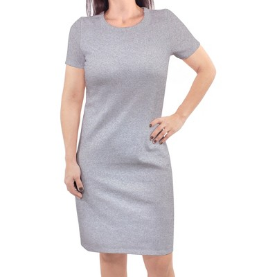 Touched by Nature Womens Organic Cotton Short-Sleeve Dress, Heather Gray