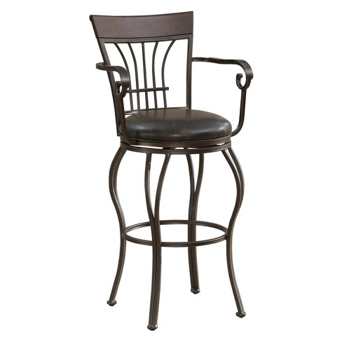 "30"" Trinity Swivel Bonded Leather Barstool Metal/Tobacco - American Heritage Billiards - image 1 of 5"