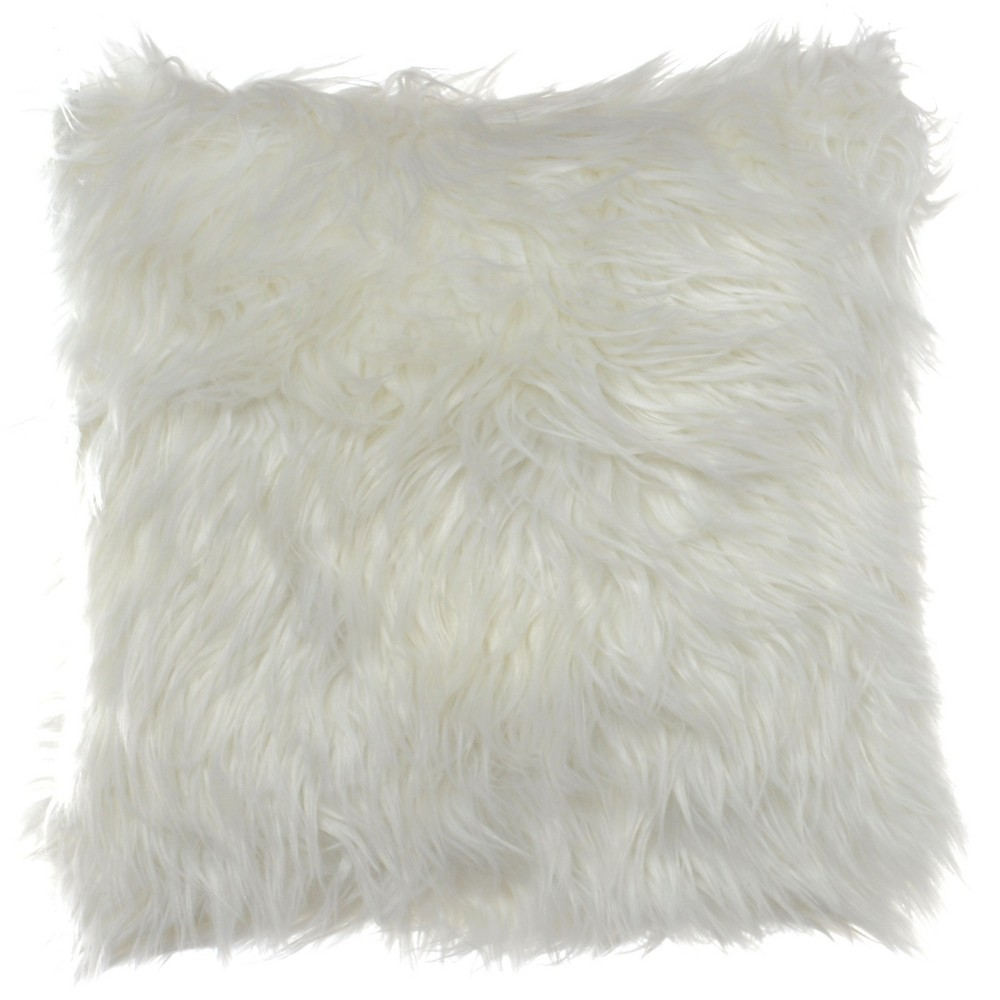 Image of Shag Throw Pillow Neutral - Eddie Bauer, White