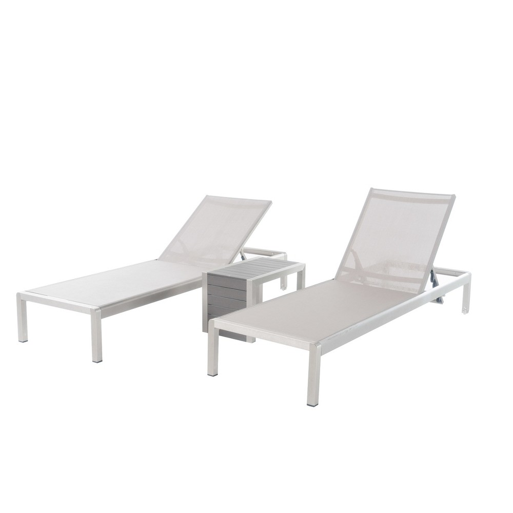 Cape Coral 3pc All-Weather Wicker/Mesh Patio Chaise w/ Side Table - Gray - Christopher Knight Home