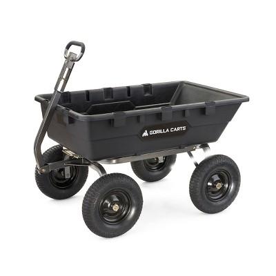 Gorilla Carts 1500 Pound Capacity Super Heavy Duty Poly Yard Garden Steel Dump Utility Wheelbarrow Wagon Cart with 2 in 1 Towing ATV Handle, Black