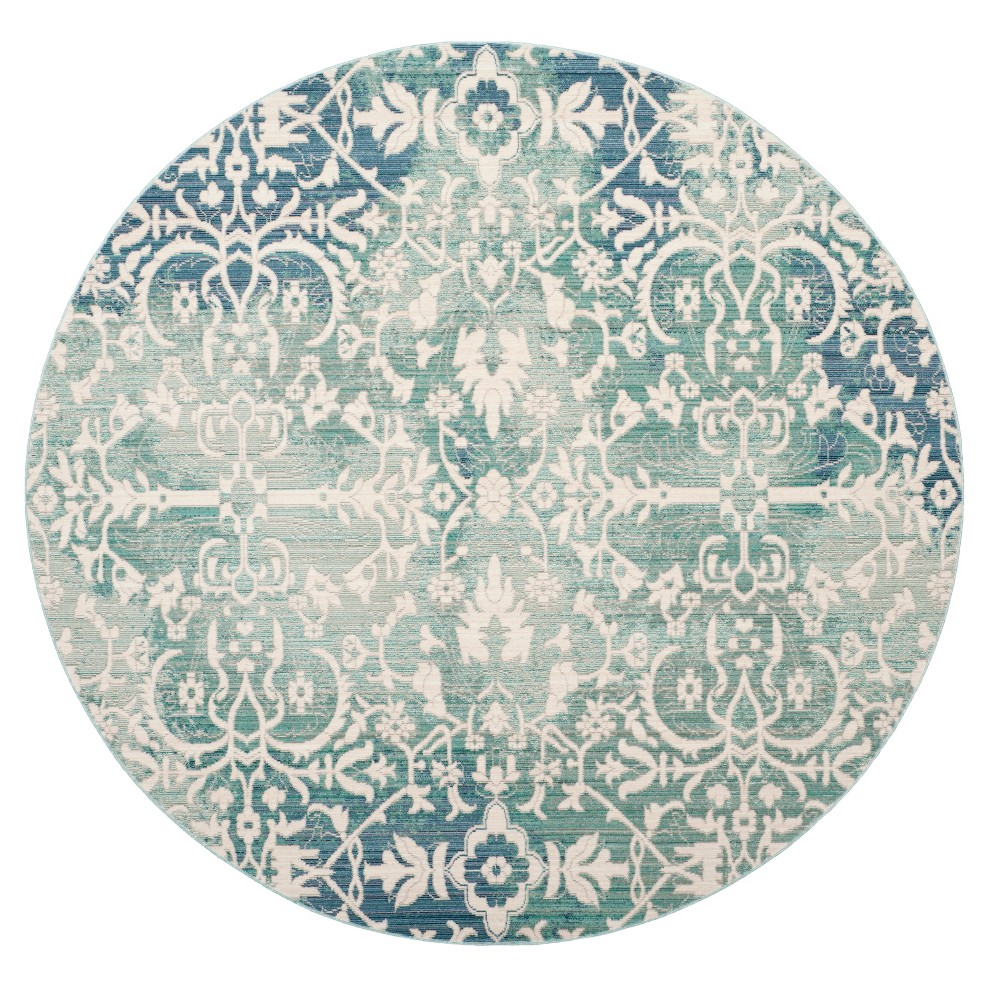 Blue/Ivory Floral Loomed Round Area Rug 6'7 - Safavieh, White Blue