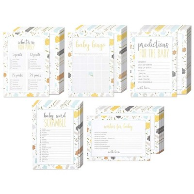 5-Set Baby Shower Game Cards, Party Activity Supplies Including Bingo, Word Scramble, Prediction and Well Wishes, Floral Design, 50 Guests