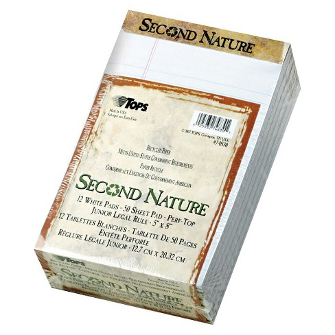 TOPS® 5 x 8 Second Nature Recycled Pad, Legal Margin/Rule, Letter- White  (50-Sheet, 12pk)