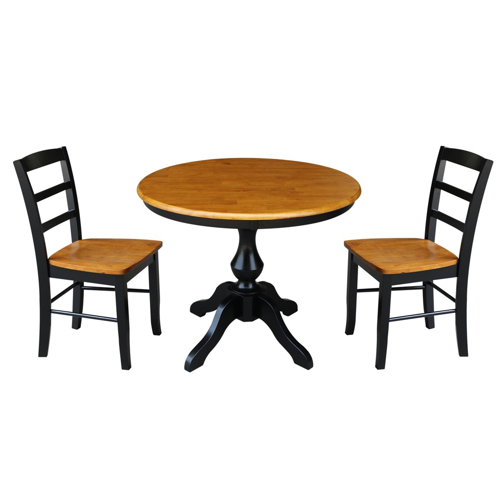 36 3pc Clay Round Top Pedestal Table with 2 Madrid Chairs Set Black/Brown- International Concepts, Multicolored