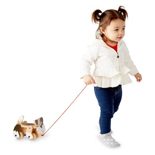 Melissa & Doug Playful Puppy Wooden Pull Toy for Beginner Walkers image number null