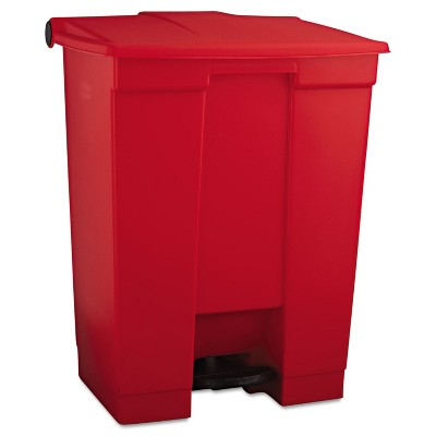 Rubbermaid Indoor Utility Step-On Waste Container Rectangular Plastic 18gal Red 614500RED