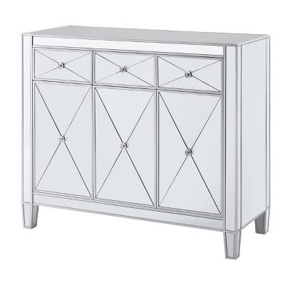 Monroe 3 Door Mirrored Cabinet Silver - Aiden Lane
