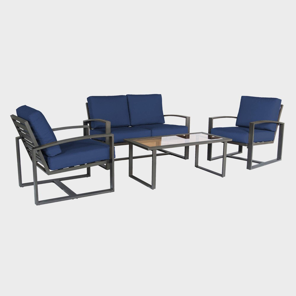 Image of 4pc Jasper Aluminum Chat Set Navy - Leisure Made