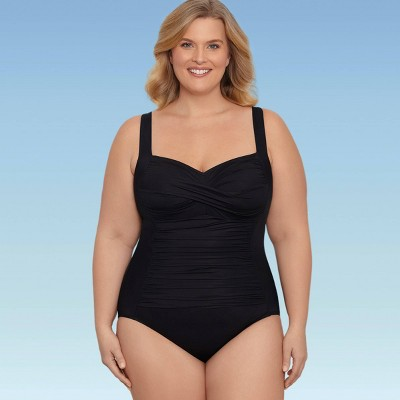 Women's Plus Size Slimming Control Ruched Front One Piece Swimsuit - Dreamsuit by Miracle Brands
