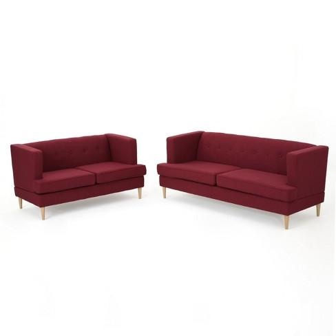 2pc Milton Mid Century Modern Sofa And Loveseat Set Deep Red