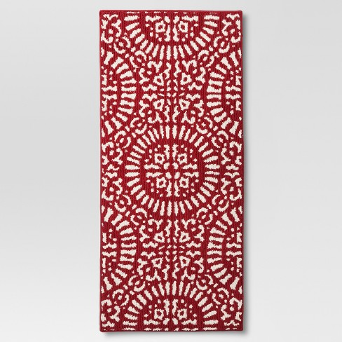 Red Medallion Kitchen Rug - Threshold™ - image 1 of 3