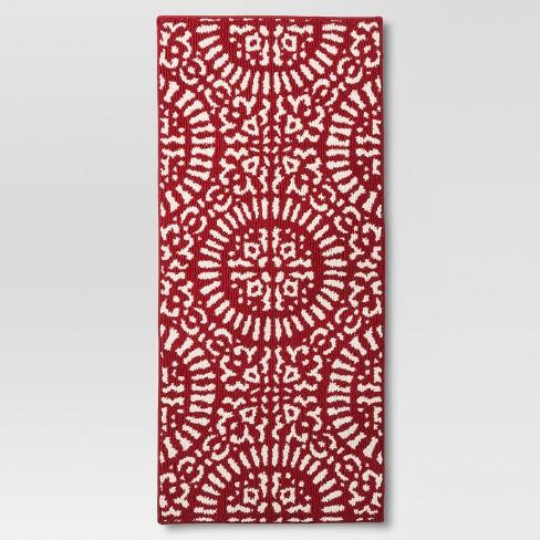 Red Medallion Kitchen Rug - Threshold™ - image 1 of 3