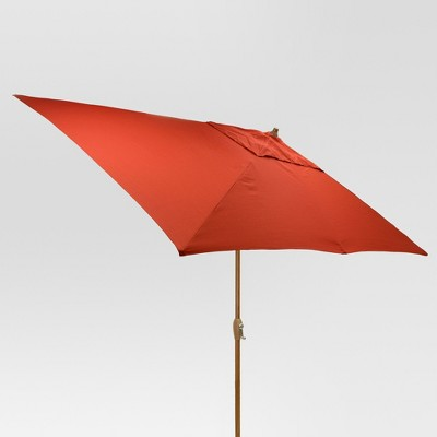 9.68' x 9.68' Rectangle Umbrella - Red - Medium Wood Finish - Threshold™