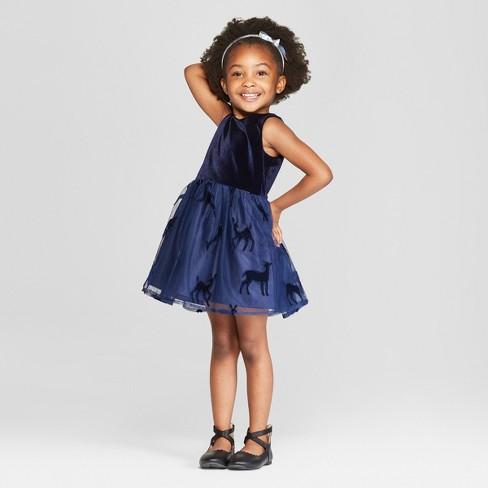 ea3afd58c20 Toddler Girls  Laser Cut A-Line Dress - Cat   Jack™ Navy   Target